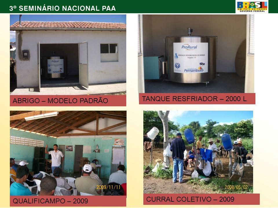 ABRIGO – MODELO PADRÃO TANQUE RESFRIADOR – 2000 L QUALIFICAMPO – 2009 CURRAL COLETIVO – 2009