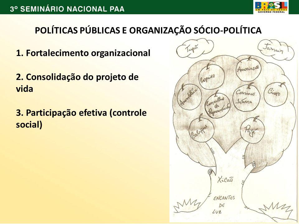 POLÍTICAS PÚBLICAS E ORGANIZAÇÃO SÓCIO-POLÍTICA 1. Fortalecimento organizacional 2. Consolidação do projeto de vida 3. Participação efetiva (controle