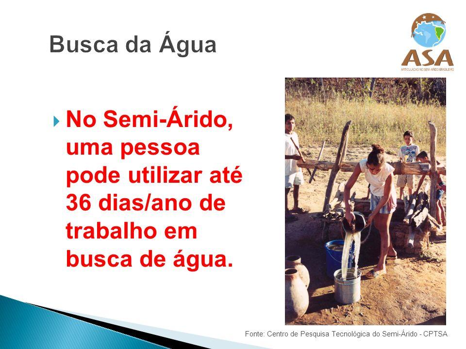 No Semi-Árido, uma pessoa pode utilizar até 36 dias/ano de trabalho em busca de água. Fonte: Centro de Pesquisa Tecnológica do Semi-Árido - CPTSA