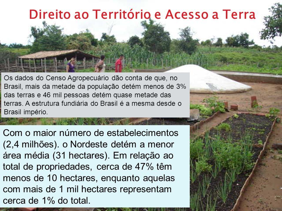Direito ao Território e Acesso a Terra Os dados do Censo Agropecuário dão conta de que, no Brasil, mais da metade da população detém menos de 3% das t
