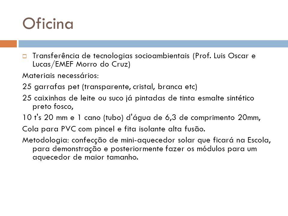Oficina Transferência de tecnologias socioambientais (Prof. Luis Oscar e Lucas/EMEF Morro do Cruz) Materiais necessários: 25 garrafas pet (transparent
