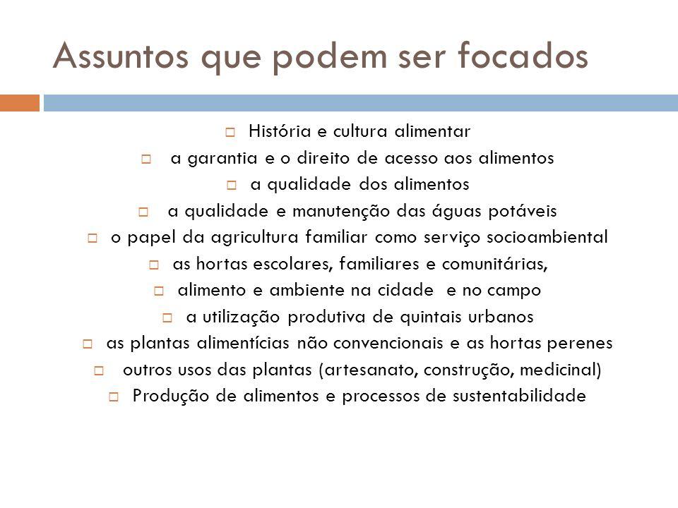 Assuntos que podem ser focados História e cultura alimentar a garantia e o direito de acesso aos alimentos a qualidade dos alimentos a qualidade e man