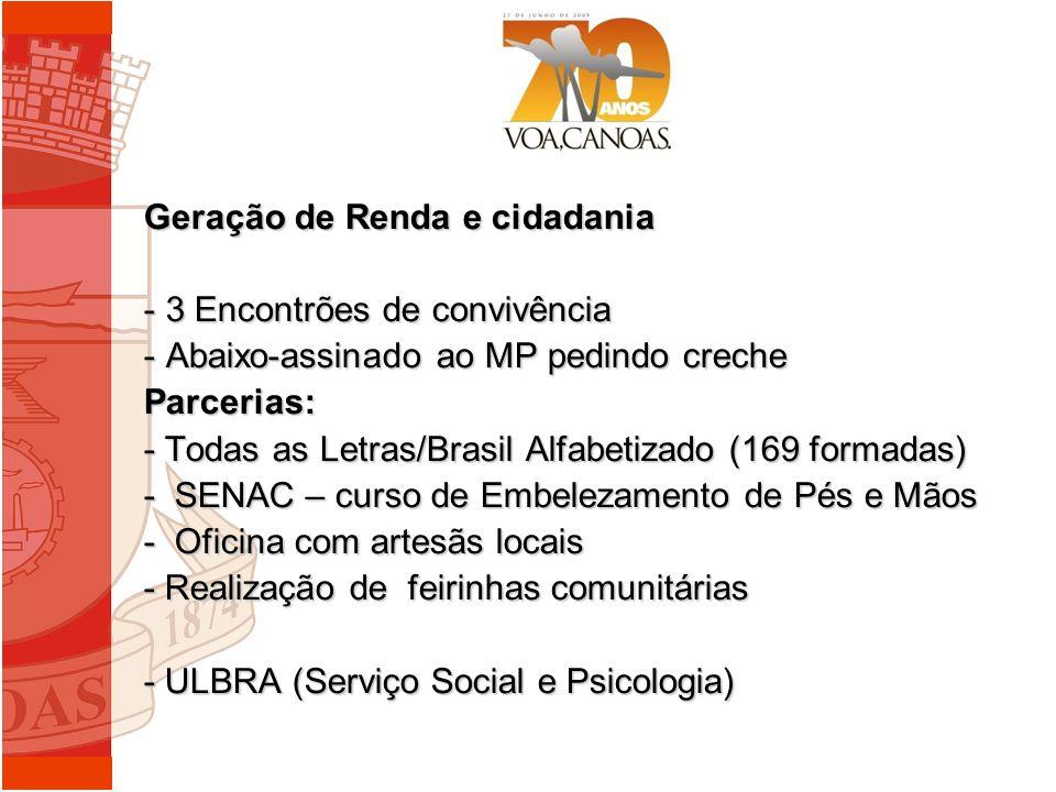 Geração de Renda e cidadania - 3 Encontrões de convivência - Abaixo-assinado ao MP pedindo creche Parcerias: - Todas as Letras/Brasil Alfabetizado (16
