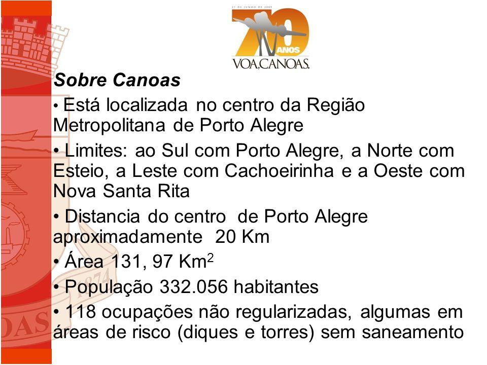 Sobre Canoas Está localizada no centro da Região Metropolitana de Porto Alegre Limites: ao Sul com Porto Alegre, a Norte com Esteio, a Leste com Cacho
