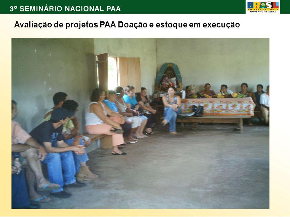 ; Avaliação de projetos PAA Doação e estoque em execução
