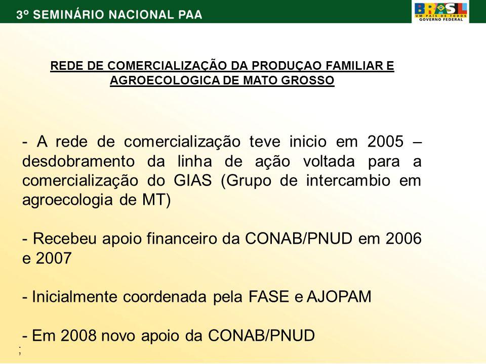 ; REDE DE COMERCIALIZAÇÃO DA PRODUÇAO FAMILIAR E AGROECOLOGICA DE MATO GROSSO - A rede de comercialização teve inicio em 2005 – desdobramento da linha