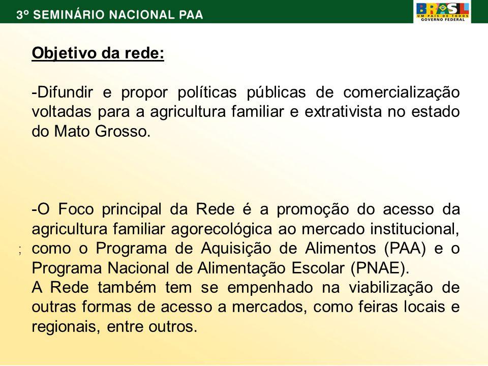 ; Objetivo da rede: -Difundir e propor políticas públicas de comercialização voltadas para a agricultura familiar e extrativista no estado do Mato Gro