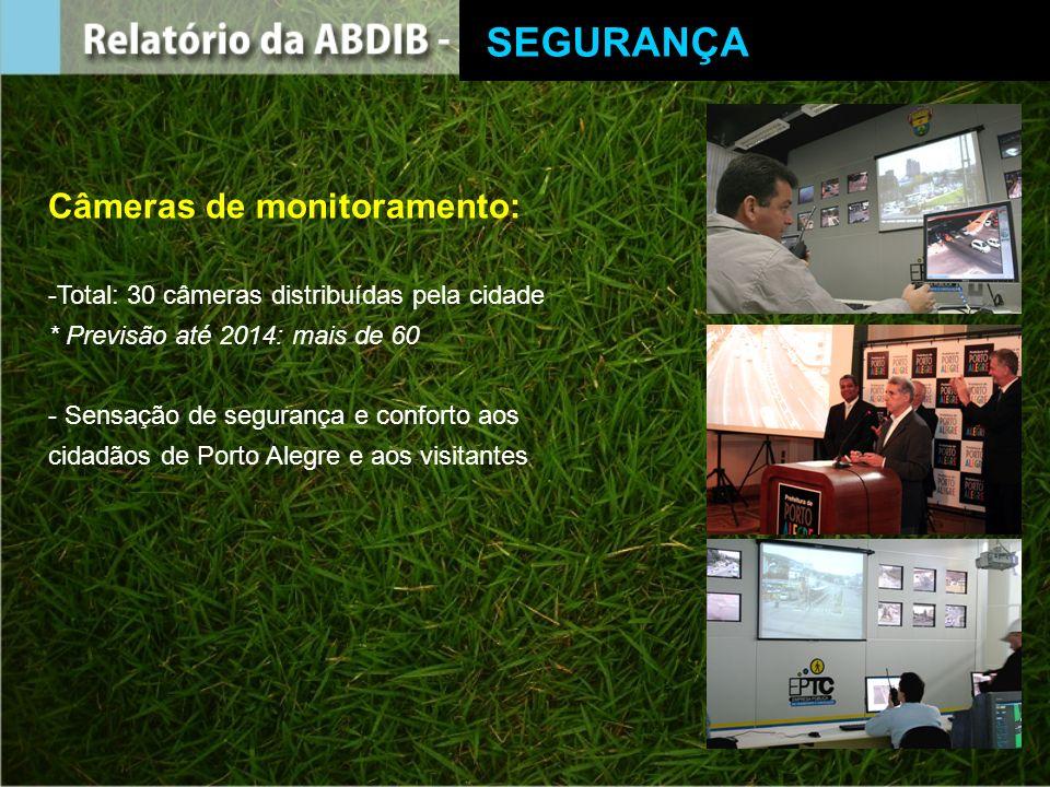 Câmeras de monitoramento: -Total: 30 câmeras distribuídas pela cidade * Previsão até 2014: mais de 60 - Sensação de segurança e conforto aos cidadãos de Porto Alegre e aos visitantes SEGURANÇA