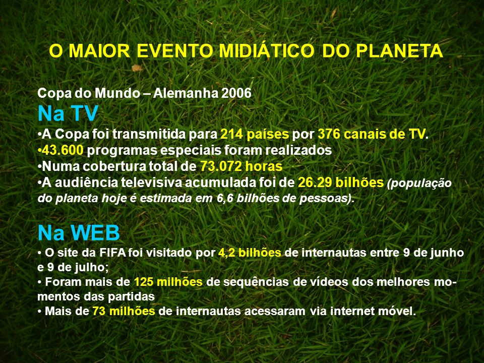 Copa do Mundo – Alemanha 2006 O MAIOR EVENTO MIDIÁTICO DO PLANETA Na TV A Copa foi transmitida para 214 países por 376 canais de TV.