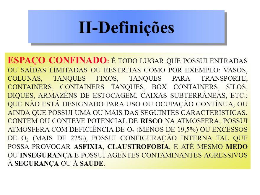 ESPAÇO CONFINADO : É TODO LUGAR QUE POSSUI ENTRADAS OU SAÍDAS LIMITADAS OU RESTRITAS COMO POR EXEMPLO: VASOS, COLUNAS, TANQUES FIXOS, TANQUES PARA TRA
