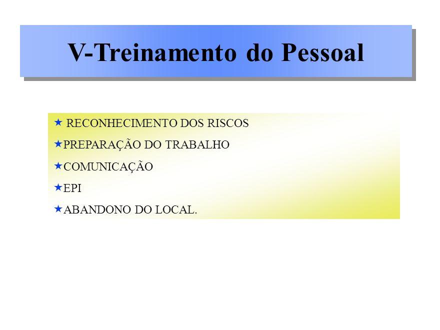 V-Treinamento do Pessoal RECONHECIMENTO DOS RISCOS PREPARAÇÃO DO TRABALHO COMUNICAÇÃO EPI ABANDONO DO LOCAL.