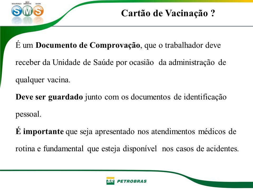 É um Documento de Comprovação, que o trabalhador deve receber da Unidade de Saúde por ocasião da administração de qualquer vacina. Deve ser guardado j
