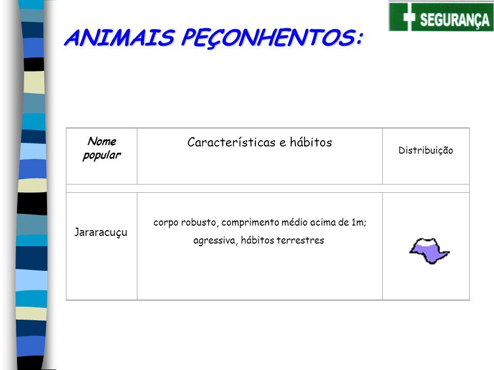 Nome popular Características e hábitos Distribuição Jararacu ç u ANIMAIS PEÇONHENTOS: corpo robusto, comprimento médio acima de 1m; agressiva, hábitos terrestres