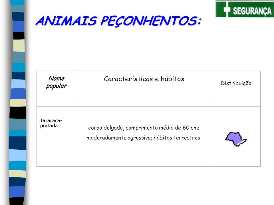 Nome popular Características e hábitos Distribuição Jararaca- pintada ANIMAIS PEÇONHENTOS: corpo delgado, comprimento médio de 60 cm; moderadamente agressiva; hábitos terrestres
