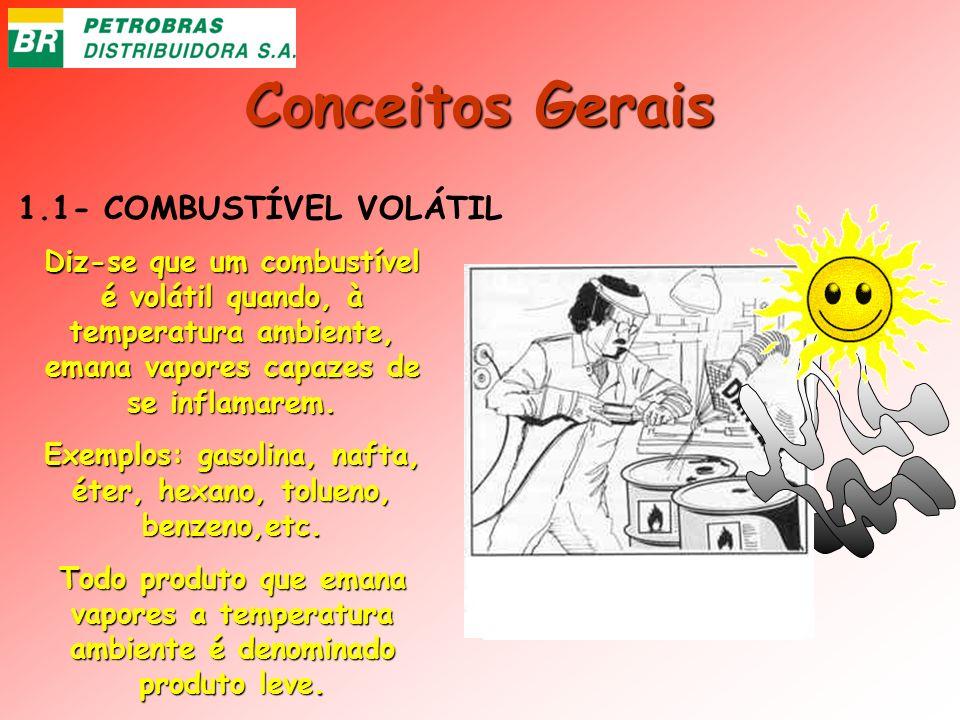 Conceitos Gerais 1.1- COMBUSTÍVEL VOLÁTIL Diz-se que um combustível é volátil quando, à temperatura ambiente, emana vapores capazes de se inflamarem.