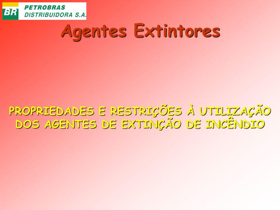 Agentes Extintores PROPRIEDADES E RESTRIÇÕES À UTILIZAÇÃO DOS AGENTES DE EXTINÇÃO DE INCÊNDIO