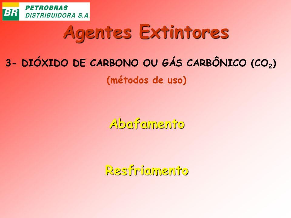 Agentes Extintores 3- DIÓXIDO DE CARBONO OU GÁS CARBÔNICO (CO 2 ) AbafamentoResfriamento (métodos de uso)