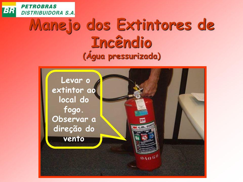 Manejo dos Extintores de Incêndio (Água pressurizada) Levar o extintor ao local do fogo. Observar a direção do vento