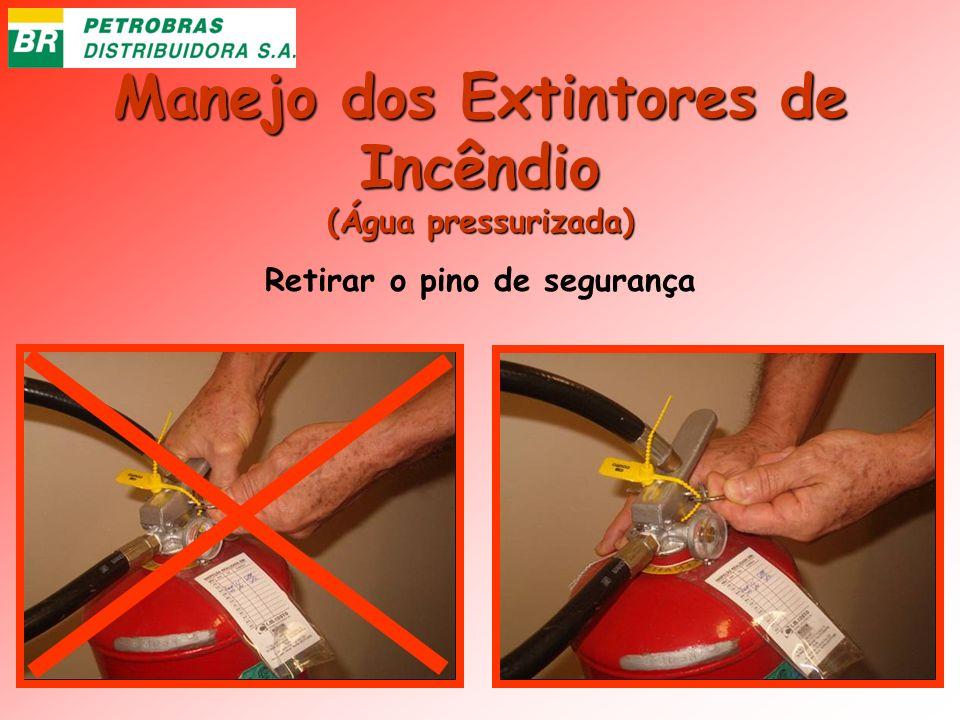 Retirar o pino de segurança Manejo dos Extintores de Incêndio (Água pressurizada)