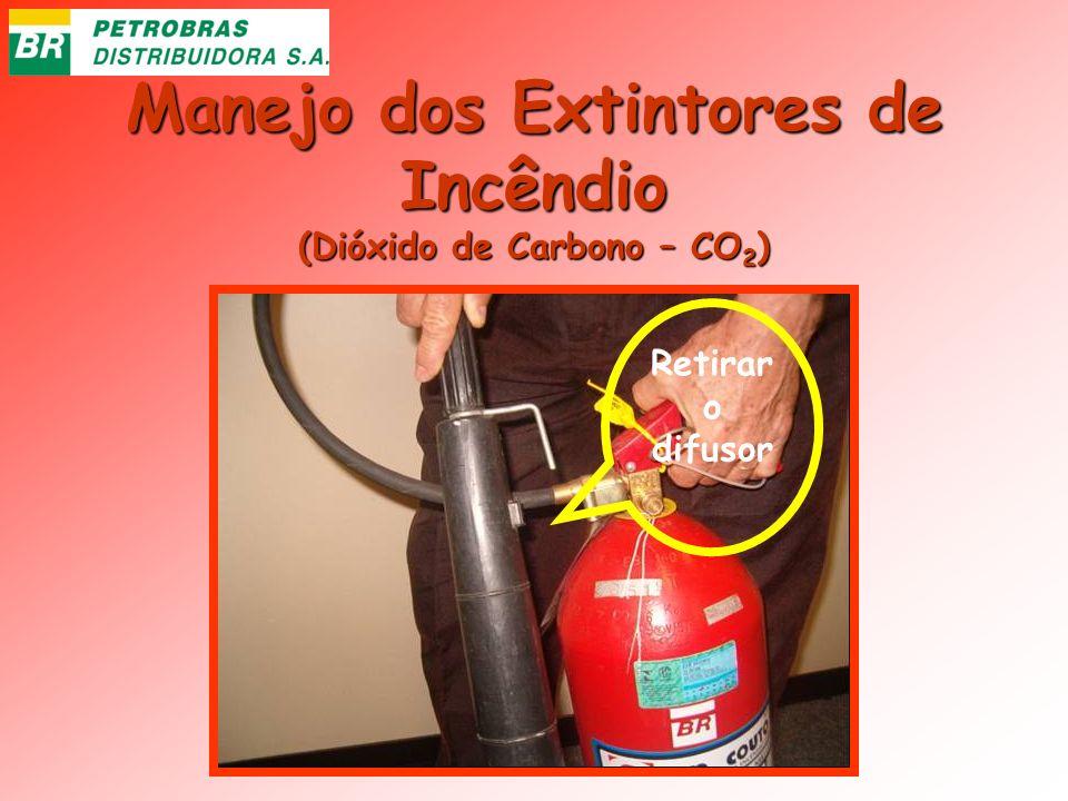 Manejo dos Extintores de Incêndio (Dióxido de Carbono – CO 2 ) Retirar o difusor