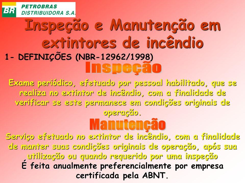 Inspeção e Manutenção em extintores de incêndio 1- DEFINIÇÕES (NBR-12962/1998) Exame periódico, efetuado por pessoal habilitado, que se realiza no ext