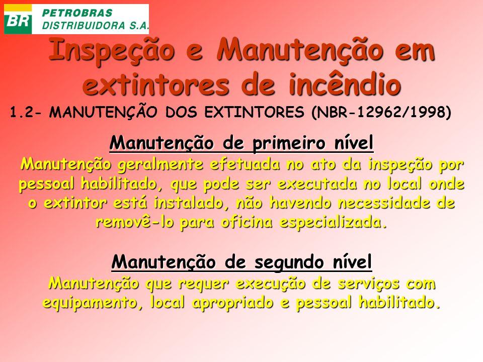 Inspeção e Manutenção em extintores de incêndio 1.2- MANUTENÇÃO DOS EXTINTORES (NBR-12962/1998) Manutenção de primeiro nível Manutenção geralmente efe