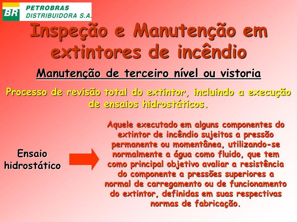 Inspeção e Manutenção em extintores de incêndio Manutenção de terceiro nível ou vistoria Processo de revisão total do extintor, incluindo a execução d