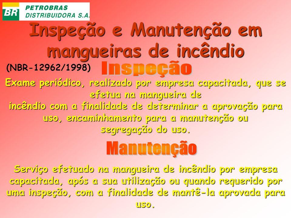 Inspeção e Manutenção em mangueiras de incêndio Exame periódico, realizado por empresa capacitada, que se efetua na mangueira de incêndio com a finali