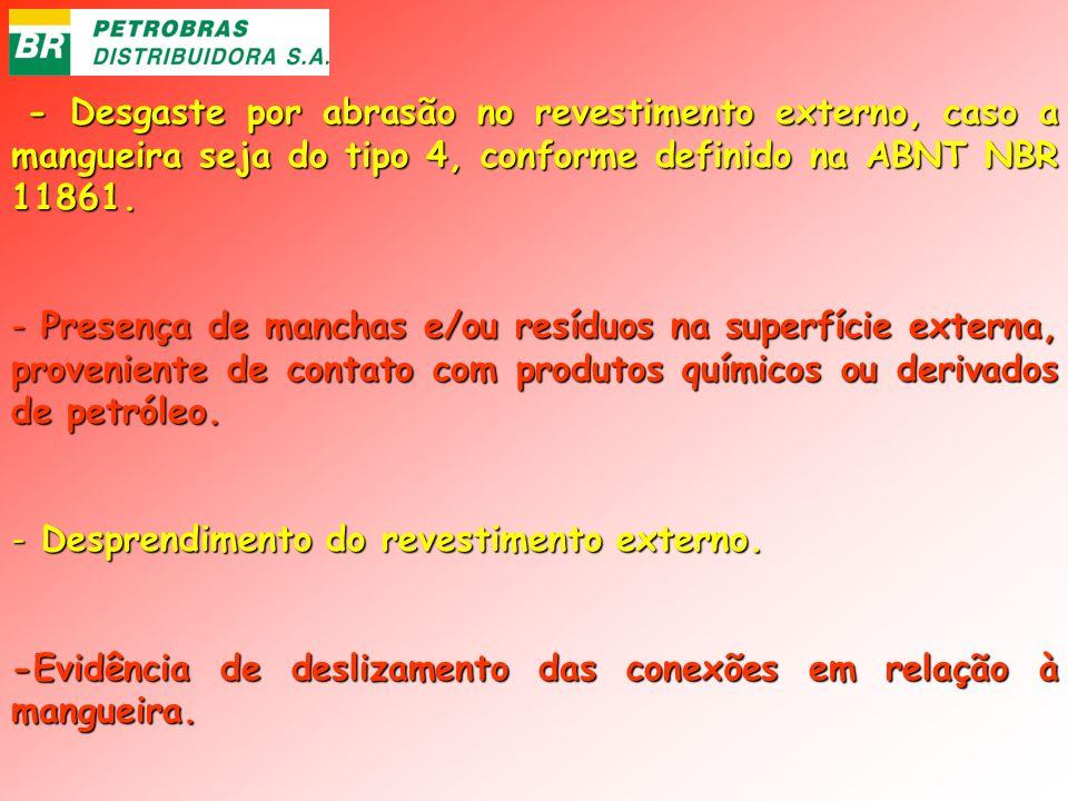 - Desgaste por abrasão no revestimento externo, caso a mangueira seja do tipo 4, conforme definido na ABNT NBR 11861. - Desgaste por abrasão no revest