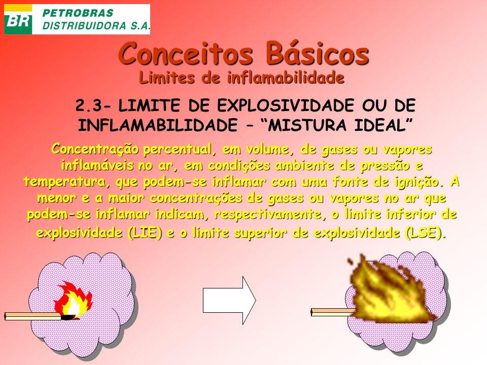 Conceitos Básicos 2.3- LIMITE DE EXPLOSIVIDADE OU DE INFLAMABILIDADE – MISTURA IDEAL Concentração percentual, em volume, de gases ou vapores inflamáve