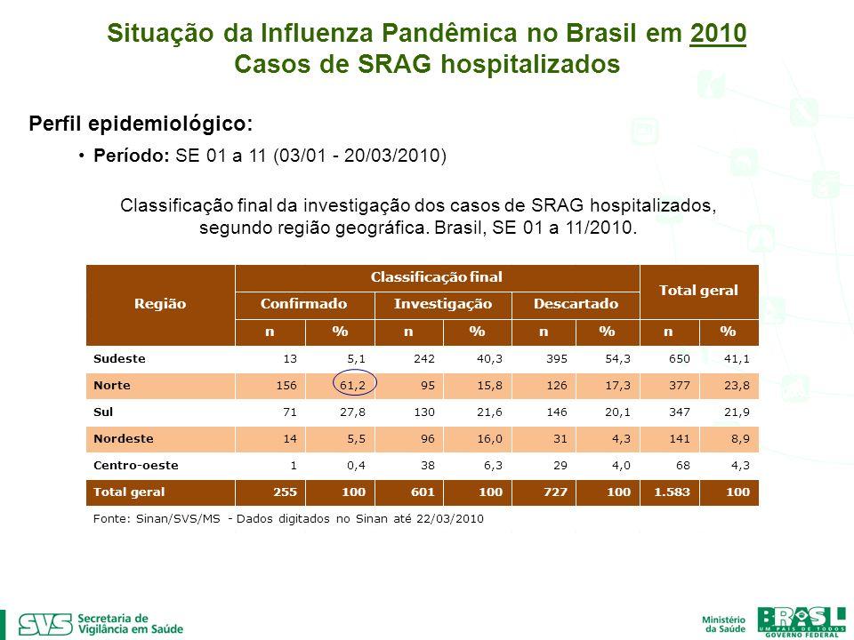 Situação da Influenza Pandêmica no Brasil em 2010 Casos de SRAG hospitalizados Perfil epidemiológico: Período: SE 01 a 11 (03/01 - 20/03/2010) Classif