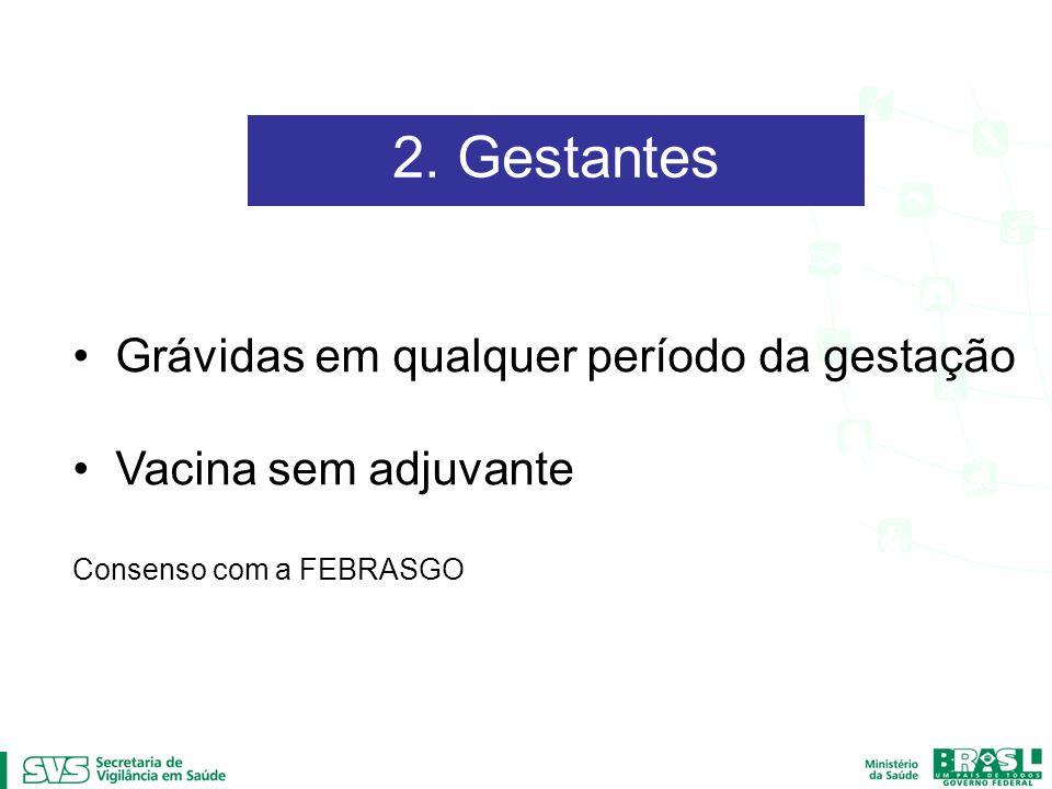 2. Gestantes Grávidas em qualquer período da gestação Vacina sem adjuvante Consenso com a FEBRASGO