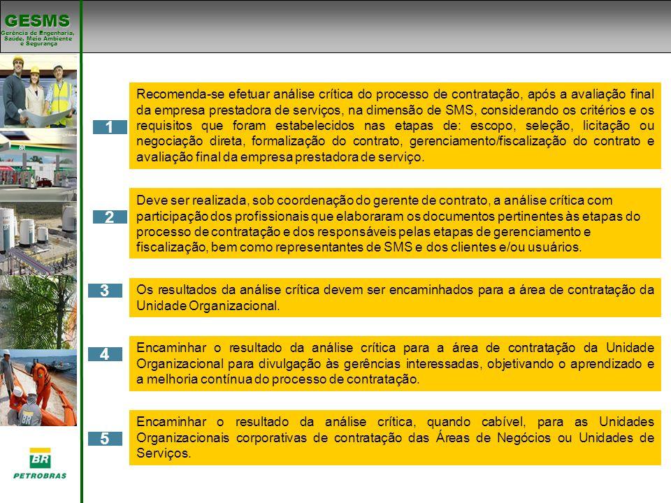 Gerência de Engenharia, Gerência de Engenharia, Saúde, Meio Ambiente e Segurança e Segurança GESMS 4 5 1 2 Encaminhar o resultado da análise crítica p