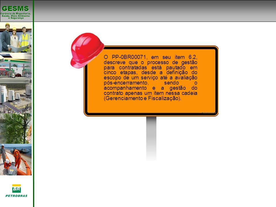 Gerência de Engenharia, Gerência de Engenharia, Saúde, Meio Ambiente e Segurança e Segurança GESMS O PP-0BR00071, em seu item 6.2, descreve que o proc