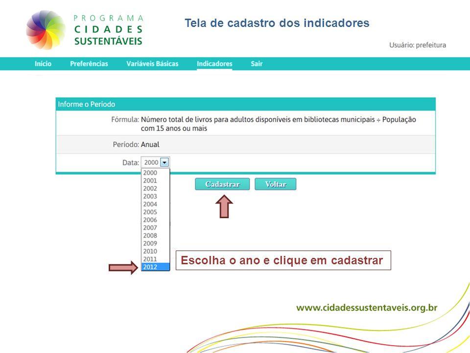 Escolha o ano e clique em cadastrar Tela de cadastro dos indicadores