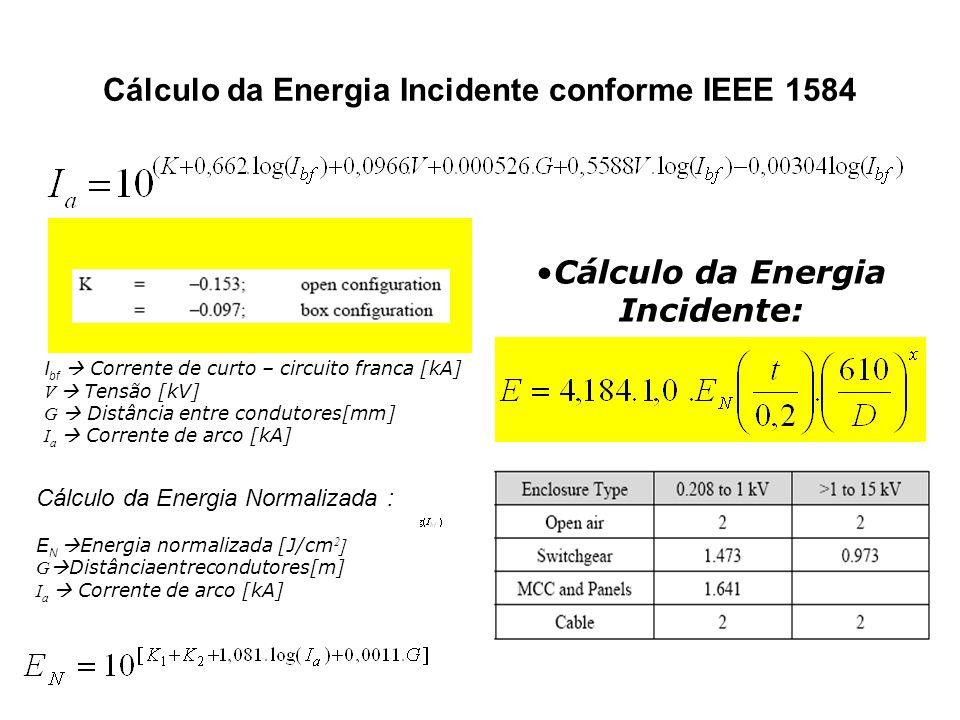 Cálculo da Energia Incidente conforme IEEE 1584 Para tensões até 1 kV I bf Corrente de curto – circuito franca [kA] V Tensão [kV] G Distância entre co