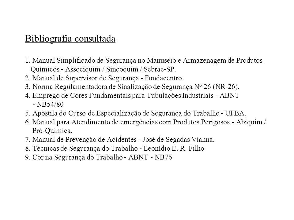 Bibliografia consultada 1. Manual Simplificado de Segurança no Manuseio e Armazenagem de Produtos Químicos - Associquim / Sincoquim / Sebrae-SP. 2. Ma