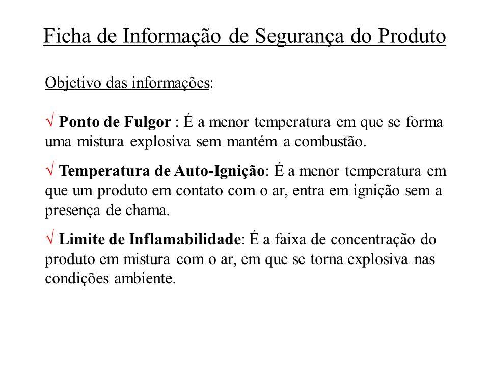 Ficha de Informação de Segurança do Produto Objetivo das informações: Ponto de Fulgor : É a menor temperatura em que se forma uma mistura explosiva se