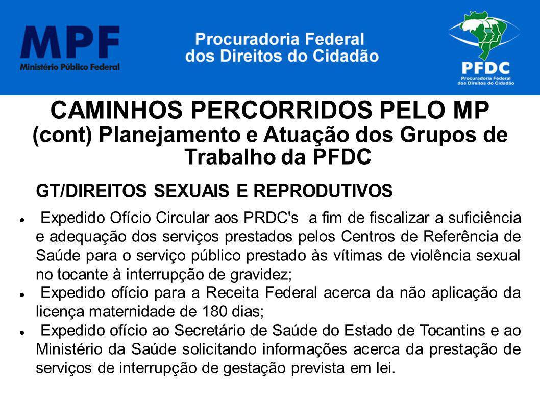 CAMINHOS PERCORRIDOS PELO MP (cont) Planejamento e Atuação dos Grupos de Trabalho da PFDC GT/DIREITOS SEXUAIS E REPRODUTIVOS Expedido Ofício Circular
