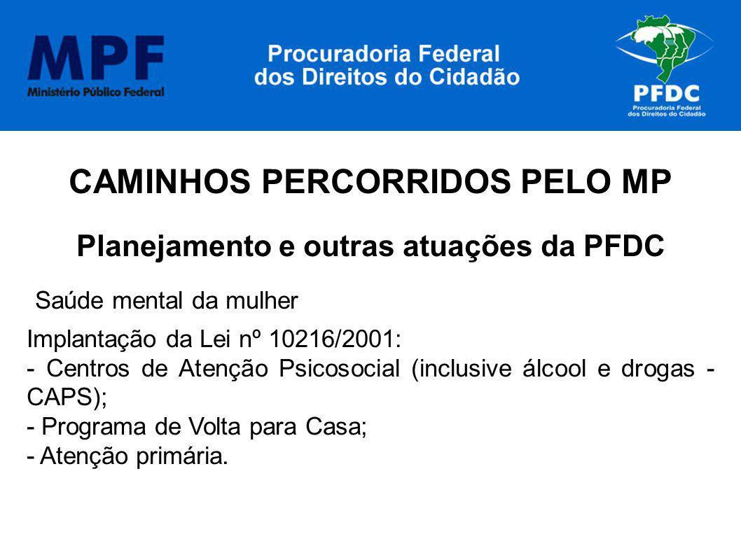 CAMINHOS PERCORRIDOS PELO MP Planejamento e outras atuações da PFDC Saúde mental da mulher Implantação da Lei nº 10216/2001: - Centros de Atenção Psic
