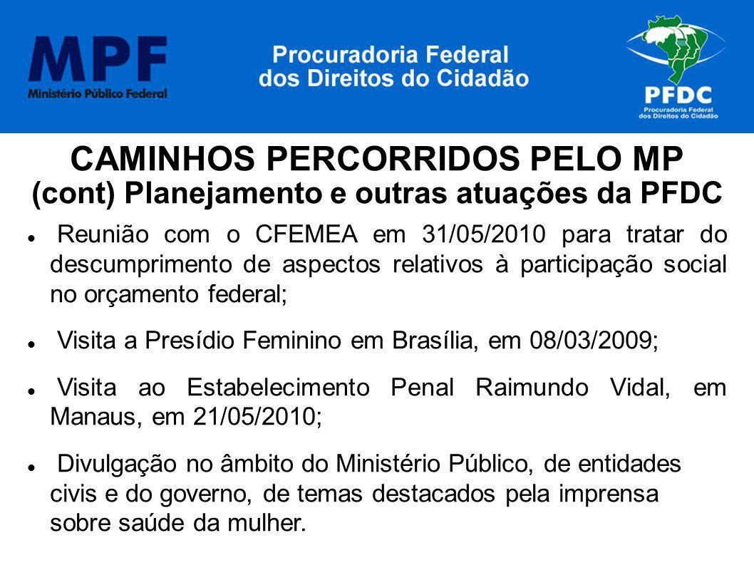 CAMINHOS PERCORRIDOS PELO MP (cont) Planejamento e outras atuações da PFDC Reunião com o CFEMEA em 31/05/2010 para tratar do descumprimento de aspecto