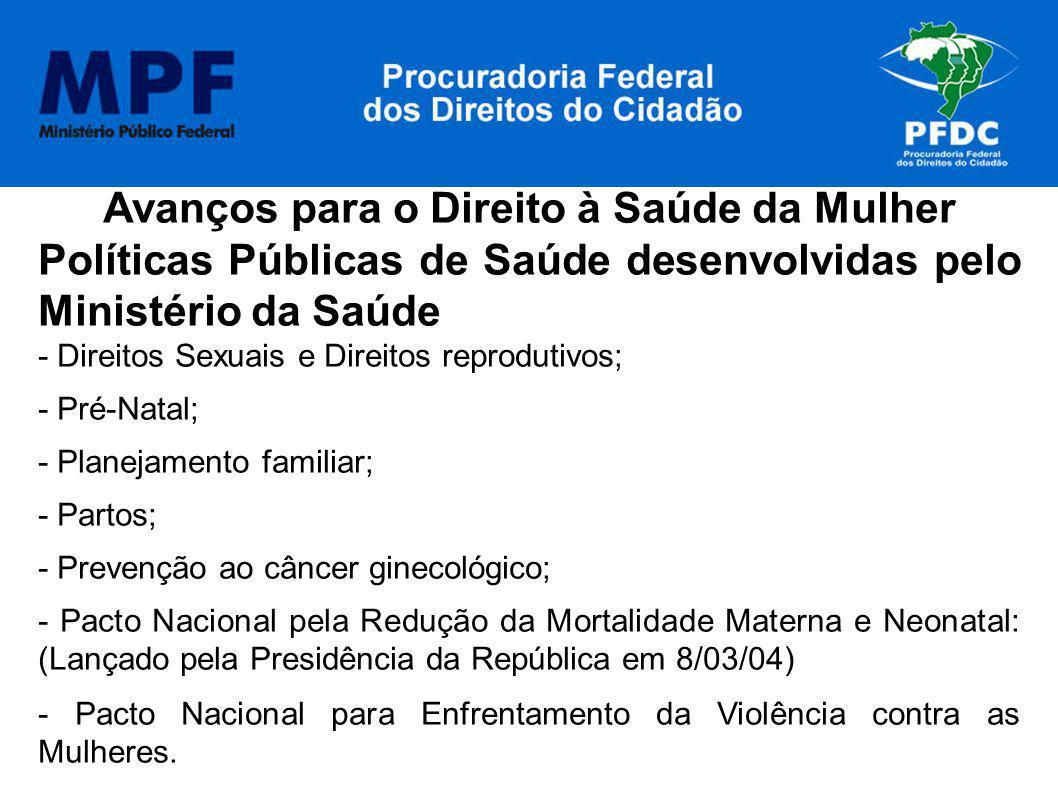 Avanços para o Direito à Saúde da Mulher Políticas Públicas de Saúde desenvolvidas pelo Ministério da Saúde - Direitos Sexuais e Direitos reprodutivos