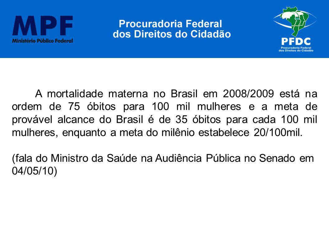 A mortalidade materna no Brasil em 2008/2009 está na ordem de 75 óbitos para 100 mil mulheres e a meta de provável alcance do Brasil é de 35 óbitos pa