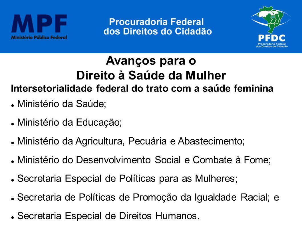 Avanços para o Direito à Saúde da Mulher Intersetorialidade federal do trato com a saúde feminina Ministério da Saúde; Ministério da Educação; Ministé
