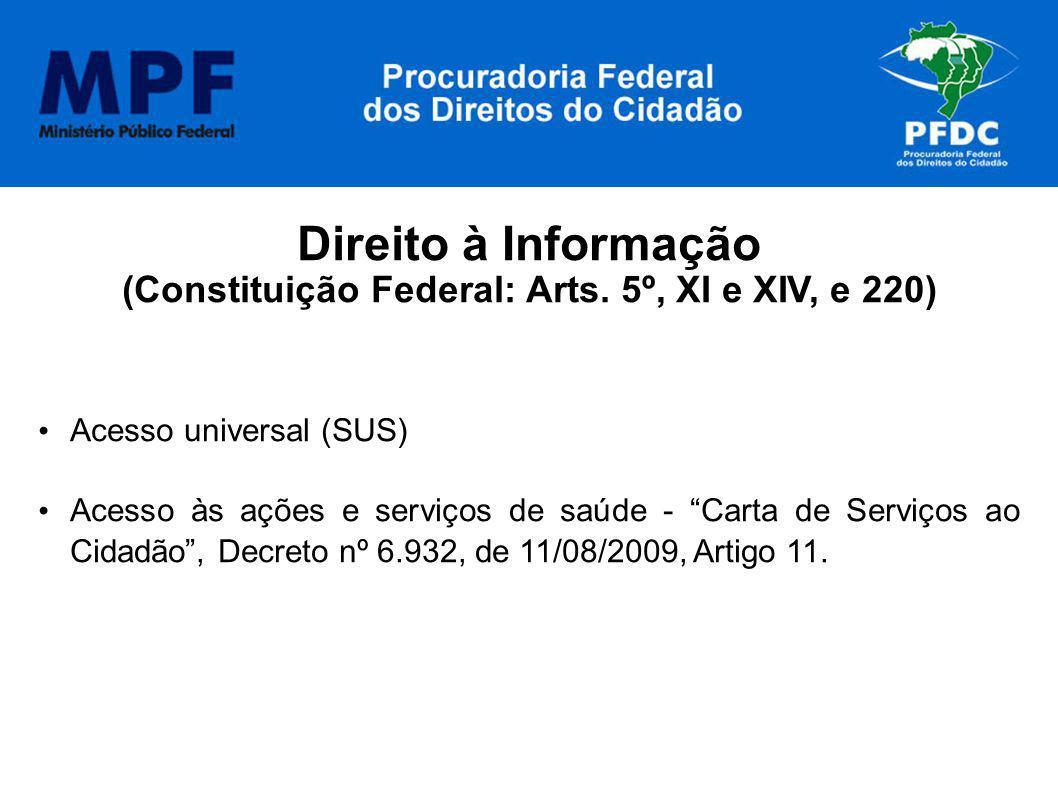 Direito à Informação (Constituição Federal: Arts. 5º, XI e XIV, e 220) Acesso universal (SUS) Acesso às ações e serviços de saúde - Carta de Serviços