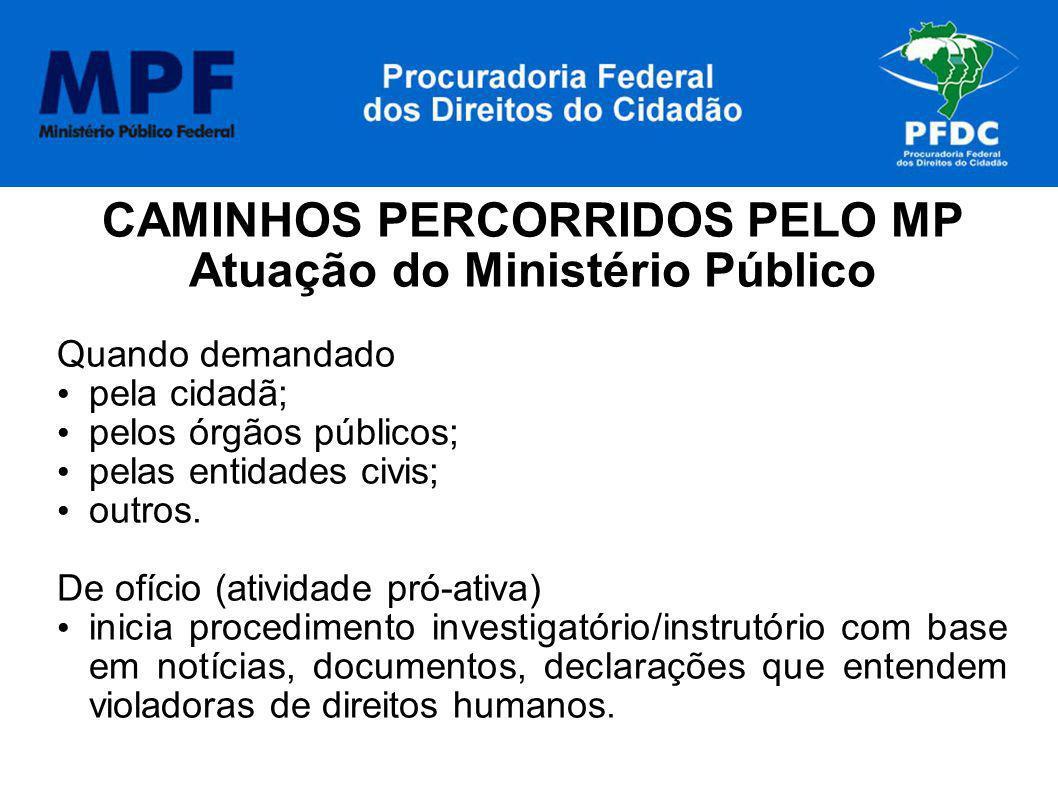 CAMINHOS PERCORRIDOS PELO MP Atuação do Ministério Público Quando demandado pela cidadã; pelos órgãos públicos; pelas entidades civis; outros. De ofíc