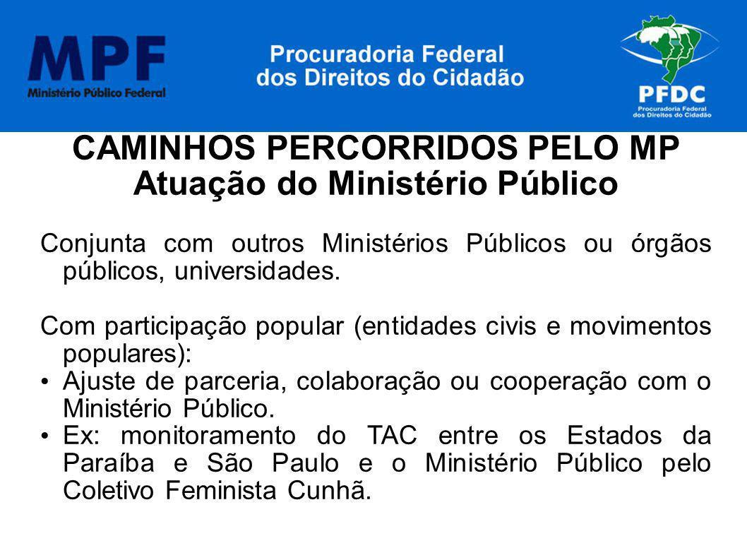 CAMINHOS PERCORRIDOS PELO MP Atuação do Ministério Público Conjunta com outros Ministérios Públicos ou órgãos públicos, universidades. Com participaçã