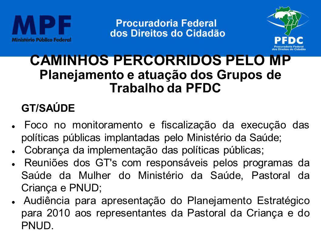 CAMINHOS PERCORRIDOS PELO MP Planejamento e atuação dos Grupos de Trabalho da PFDC GT/SAÚDE Foco no monitoramento e fiscalização da execução das polít