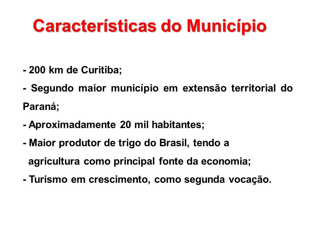 - 200 km de Curitiba; - Segundo maior município em extensão territorial do Paraná; - Aproximadamente 20 mil habitantes; - Maior produtor de trigo do B