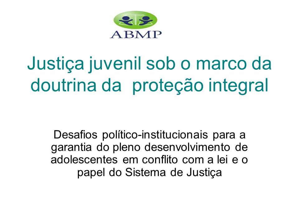www.abmp.org.br Justiça juvenil sob o marco da doutrina da proteção integral Desafios político-institucionais para a garantia do pleno desenvolvimento de adolescentes em conflito com a lei e o papel do Sistema de Justiça
